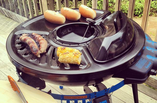 Grill portable avec friteuse incorporée