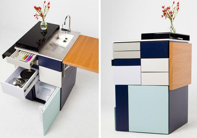 La mini-cuisine compacte de style moderne