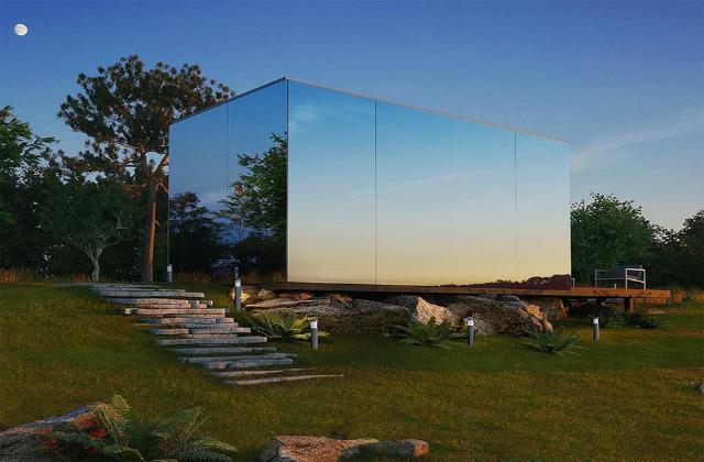 Une maison-miroir à construire en quelques heures