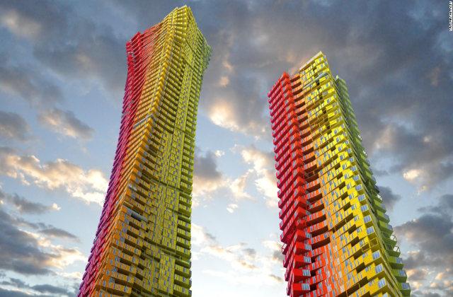 Des gratte-ciels-conteneurs colorés à Mumbai pour récupérer les pauvres bidonvilles