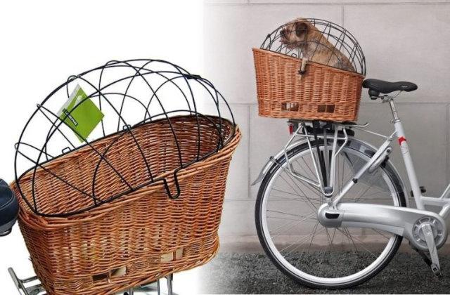 Panier vélo avec cage pour pédaler avec votre chien en toute sécurité